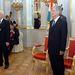 Budapest 2005. augusztus 5. Sólyom László köztársasági elnök (j) és eldje Mádl Ferenc (b) az új államf hivatalba lépési ünnepségén a Sándor-palota Tükörtermében.