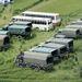 Katonai szállítójárművek Győrújfalu határában