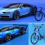 Felül a sorozatgyártású Chiron a cég megbízásából tervezett hivatalos kerékpárral, alul a Bugatti Vision Gran Turismo, Szabó Imre bringájával