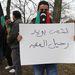 Demonstrációjukkal a soros EU-elnök, Magyarország figyelmét szerették volna felhívni a Líbiaban zajló vérengzésekre.