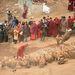 Az elhunytat egy pap és a helyiek által rogyapasznak (testtörő) hívott ember aprítja fel az elhunytat a dögevőknek. A rituálé oka prózai: ilyen magasan egyszerűen túl kevés fa áll rendelkezésre a buddhizmusban szokásos hamvasztásos temetéshez