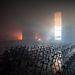 Az éjszaka kiégett Szakszervezetek Házának egyik előadóterme