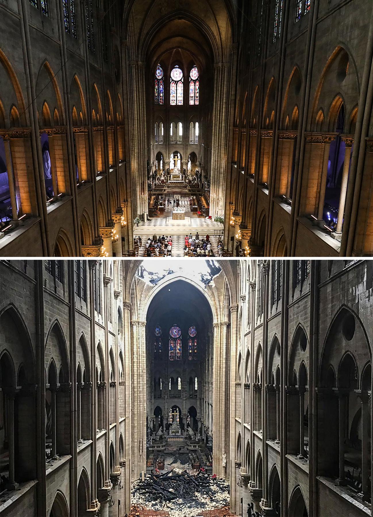 A homályos belső térben most rengeteg a természetes fény. Az első munkafázis az épület stabilitásának biztosítása és a törmelék átfésülése lesz.