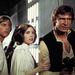 Mark Hamill, Carrie Fisher és Harriosn Ford a Halálcsillag folyosóján