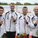 Tótka Sándor Dudás Miklós Hérics Dávid és Molnár Péter a bronzérmes magyar csapat tagjai a férfi kajak 4x200 méteres váltóverseny eredményhirdetésén