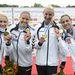 Douchev-Janics Natasa Kozák Danuta Vad Ninetta és Fazekas Krisztina az aranyérmes magyar csapat tagjai a női kajak 4x200 méteres verseny eredményhirdetésén
