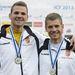 Vasbányai Henrik (b) és Mike Róbert a kenu kettes 500 méteres verseny eredményhirdetésén