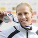 Az ezüstérmes Csay Renáta a női kajak egyes 5000 méteres verseny eredményhirdetésén