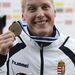A 3. helyen végzett Dombvári Bence ünnepel a férfi kajak egyes 1000 méteres verseny eredményhirdetésén