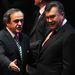 Michel Platini UEFA-elnök és Viktor Janukovics ukrán elnök a 2012-es Eb-sorsoláson.