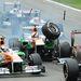 Paul di Resta és Romain Grosjean ütközése a futam elején