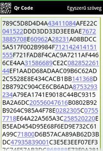 A QR-kódot beolvasva ilyen kódolt szöveget kapunk