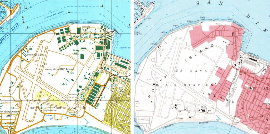 New York egy 1982-es szovhjet térképen (a jobb fölső sarokban Manhattan)