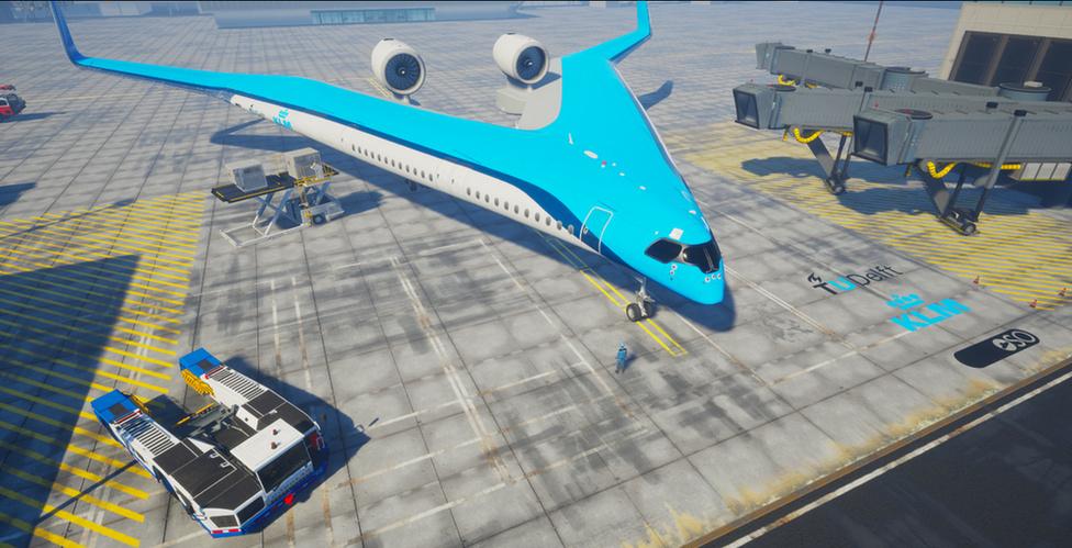 Futurisztikus, V alakú repülő mögé állt be a KLM - 1