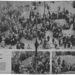 Alul a fenti kép két kivágásban: balra, a tömeg egyik fele, egy AVH-s tiszt holtteste felett áll, jobbra a Kommunista Párt székházának titkos alagútja felé ásnak felkelők, ahonnan politikai foglyokat próbálnak kiszabadítani.