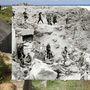 Kanadai rangerek állnak Pointe du Hocnál. A felderítés szerint itt erős tüzérségi ütegek állomásoztak volna, a különlegesen kiképzett katonák azonban csak telefonpóznákat találtak az erődítményekben, miután az ellenség tüzében megmászták a sziklafalat.