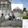 A Basly-i Szent György templom kertje a D-napon és ma. A régi képen kanadai katonák láthatók.