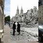 Caen romjai, ahogy a Rue de Bayeux-n álló pár láthatta 1944. július 14-én, és ahogy az utca mostanában kinéz. A háttérben látható templomtornyok a csodával határos módon sértetlenül élték túl a szövetségesek bombatámadását.