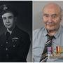 """Alastair Mackie repülődandár-parancsnok 1944-ben és 2013 decemberében. Mackie 92 éves, Londonban él, 1944. június 6-án a királyi légierő 233-as repülőszázadával repült, ejtőernyősöket dobtak le Normandiában. """"Hajnali egykor szálltunk fel, végig attól féltem, hogy a haditengerészek, akik tőlünk jobbra voltak, tévedésből lelőnek"""" – emlékezett vissza a partraszállás napjára."""