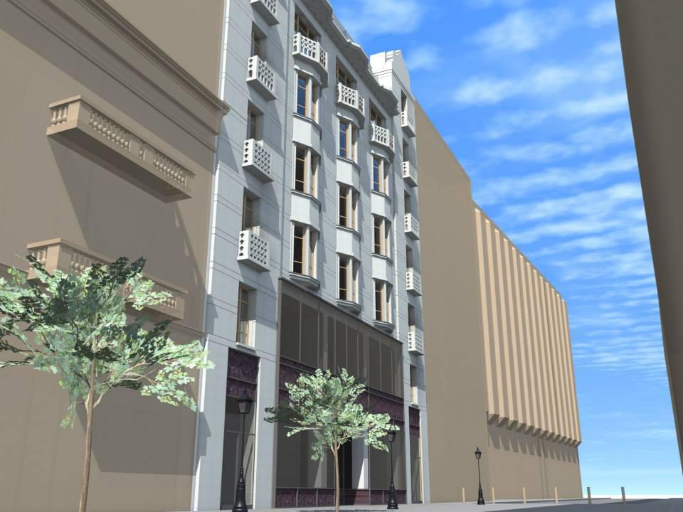 A szintén Medgyaszay tervezte egykori TÉBE Bankház a Hild téren. Ilyesmi lehetne ma a Dorottya utca 8., ha szerencsésebben alakul a sorsa